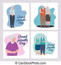 komplet, stary, rodzice, ludzie, dzień, szczęśliwy, sprytny...