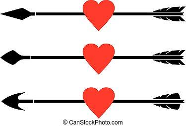 komplet, strzała, serce, wektor
