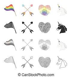 komplet, strzały, monochromia, płciowy, tęcza, styl, ikony, bandera, czarnoskóry, pień, mniejszość, symbol, web., ilustracja, odciski palców, zbiór, jednorożec, rysunek, szkic, wektor, krzyżowany, head.