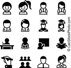 &, komplet, student, nauka, ikona