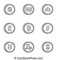 komplet, styl, ikony, szkic, finanse