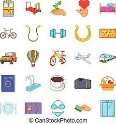komplet, styl, obsługa, rysunek, ikony