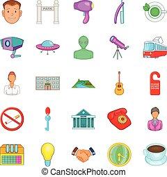 komplet, styl, przyjść, rysunek, ikony