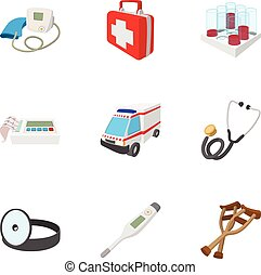 komplet, styl, rysunek, diagnoza, ikony