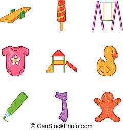 komplet, styl, rysunek, dziecinny, ikony