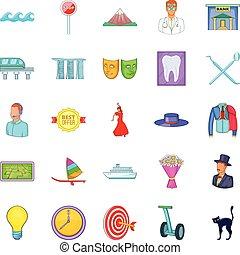 komplet, styl, wizyta, rysunek, ikony
