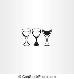 komplet, stylizowany, szkło, wektor, projektować, wino