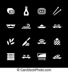 komplet, sushi, ikony