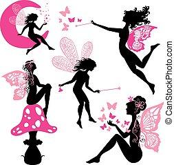 komplet, sylwetka, dziewczyny, izolować, motyle, gwiazdy, wróżka
