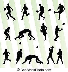 komplet, sylwetka, gracz, wektor, tło, rugby, człowiek