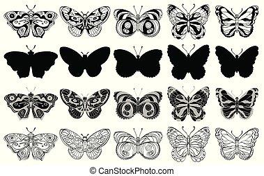 komplet, sylwetka, icons., motyle, różny, formuje, ozdobny, czarnoskóry, white.