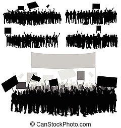 komplet, sylwetka, ludzie, dwa, ilustracja, część, różny, biały, pozy, przeźroczysty