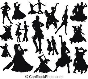 komplet, sylwetka, taniec, ludzie, odizolowany, czarnoskóry, para