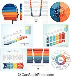 komplet, sześć, diagram, infographics, 8, steps., szablony