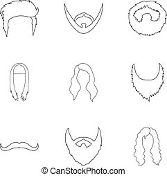 komplet, szkic, ikony, cielna, symbol, zbiór, wektor, ilustracja, broda, style., pień