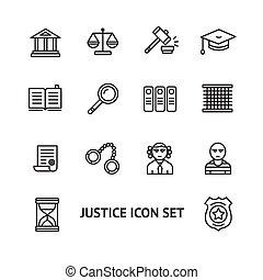 komplet, szkic, sprawiedliwość, wektor, prawo, ikona