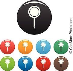 komplet, szpilka, ikony, kolor, wektor, okrągły