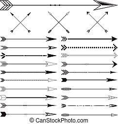 komplet, sztuka, tło, zacisk, wektor, strzała, biały