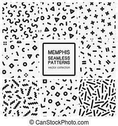 komplet, tła, abstrakcyjny, -, seamless, wzory, modny, geometryczny, memphis, design.