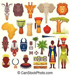 komplet, tło, afryka, bębni, kultura, odzież, podróż, odizolowany, biały, ilustracja, litery, etniczny, dziewiczość, zwierzęta, plemienna maska, safari, tradycyjny, wektor, afrykanin, albo, sawanna