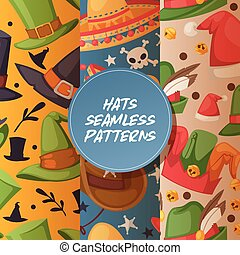 komplet, tło, headwear, świętując, komik, próbka, seamless, stroik, partyjny kapelusz, ilustracja, chrisrmas, urodziny, czarownica, święty, kłobuk, rysunek, karnawał, kowboj, korona, wektor, albo, zasłona