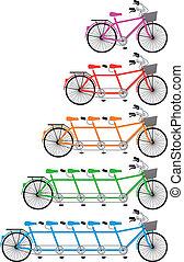 komplet, tandemowy rower, wektor