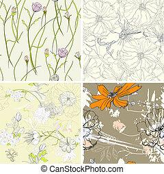 komplet, tapeta, seamless, kwiatowy