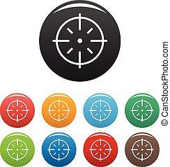 komplet, tarcza, ikony, kolor, specyficzny, wektor