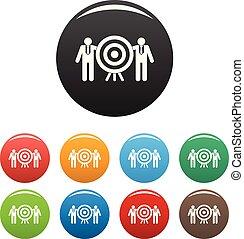 komplet, tarcza, ikony, kolor, towarzystwo, wektor