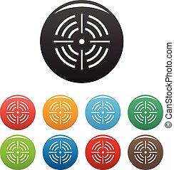 komplet, tarcza, ikony, kolor, wektor, okrągły