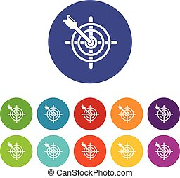 komplet, tarcza, ikony, kolor, wektor, strzała