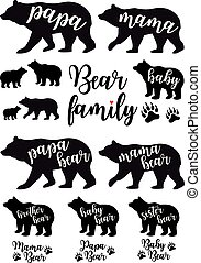 komplet, tatuś, mama, wektor, niedźwiedź, niemowlę