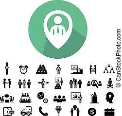 komplet, teamwork, handlowy, ikona
