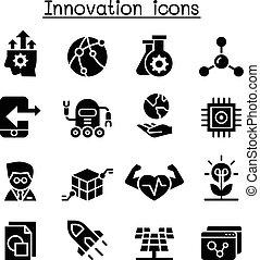komplet, technologia, innowacja, ikona, &