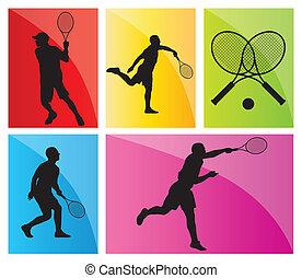 komplet, tenisiści, sylwetka, wektor, tło