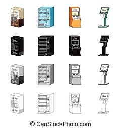 komplet, terminal, monochromia, isometric, ikony, rysunek, terminal, czarnoskóry, aptekarz, pień, maszyna, kawa, machine., symbol, web., styl, ilustracja, woda, zbiór, bilet, wpłata, typy, szkic, różny, wektor