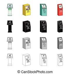 komplet, terminal, styl, monochromia, informacja, isometric, ikony, terminal, czarnoskóry, pień, maszyna, machine., symbol, web., różny, zbiór, ilustracja, bilet, rysunek, typy, szkic, gotówka, wektor