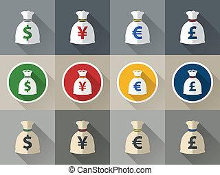 komplet, torba, symbol pieniędzy, waluta, ikona