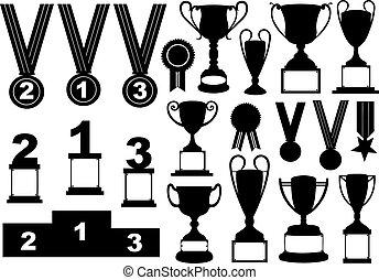 komplet, trofea, medals