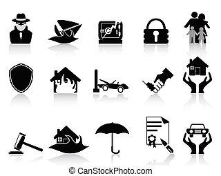 komplet, ubezpieczenie, ikony