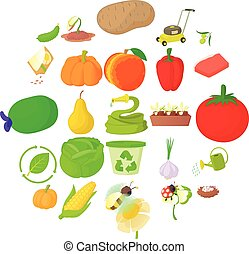 komplet, uprawa drzew, ikony, styl, rysunek