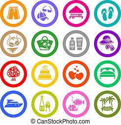 komplet, &, urlop, ikony, podróż, rozrywka