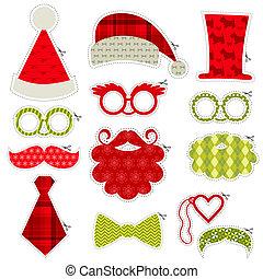 komplet, -, usteczka, okulary, maski, wektor, mustaches, photobooth, partyjne kapelusze, boże narodzenie