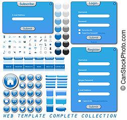komplet, væv, skabelon, samling, hos, former, barer, knapper, iconerne, og, snakke, bubbles.