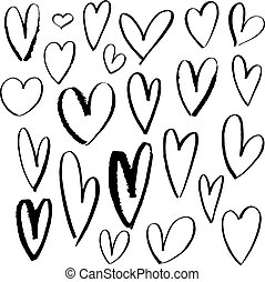 komplet, valentine, zalewać, odizolowany, ilustracja, ręka, day., tło., wektor, serca, biały