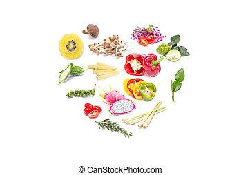 komplet, vegetables., barwny, owoce