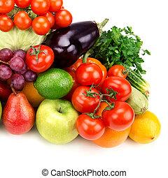 komplet, warzywa, odizolowany, tło, owoce, biały