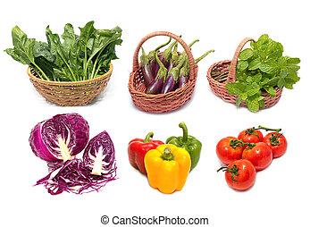 komplet, warzywa, odizolowany, zielone listowie, świeży, backgro, biały