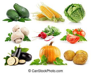 komplet, warzywa, odizolowany, zielony, świeży, liście