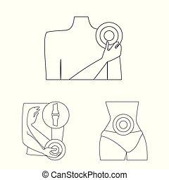 komplet, web., symbol, rana, ilustracja, wektor, zapalenie, icon., kość, pień